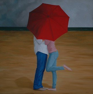 Peter Seminck: 'private kiss', 2020 Oil Painting, People. Come rain or shine, an umbrella can be useful...