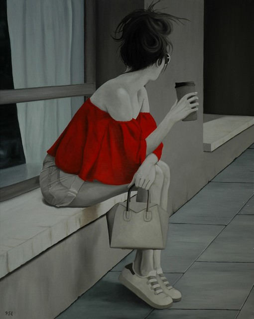 Peter Seminck  'Red Blouse Waiting For Him', created in 2019, Original Painting Acrylic.