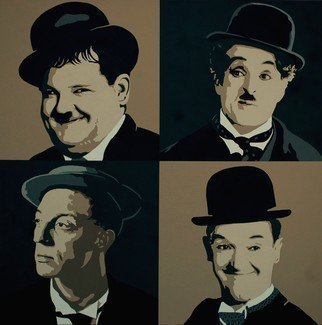 Peter Seminck: 'silent movie heroes', 2020 Acrylic Painting, People. Next in the graphical painting series.  Oliver HardyCharly ChaplinBuster KeatonStan Laurel...