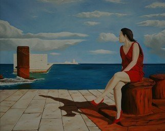 Peter Seminck Artwork sitting on the dock of the bay, 2016 Oil Painting, People