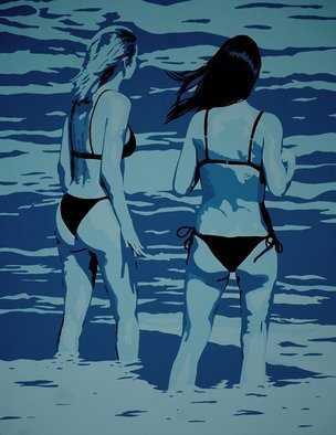 Peter Seminck: 'two women in the surf', 2020 Acrylic Painting, People. Two women chatting about the second wave...