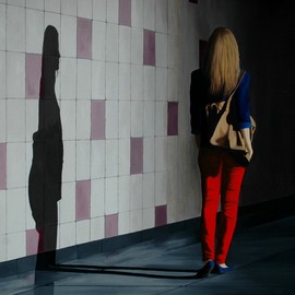 Peter Seminck: 'walking into the tunnel', 2017 Oil Painting, People. Artist Description: woman, tunnel, shadow, spotlight, realism...