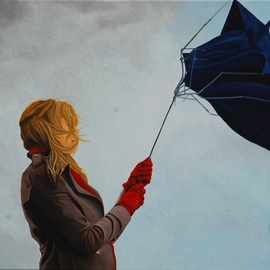 Peter Seminck: 'wind', 2018 Oil Painting, People. Artist Description: womanrainwindumbrellarealism...