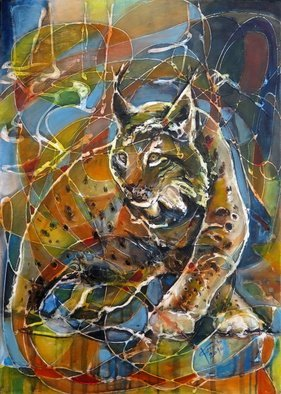Lubomir Korenko: 'Wild Europe Lynx ', 2016 Mixed Media, Animals.           mixed media on canvas techniques.the painting continue on the side of the painting.     ...