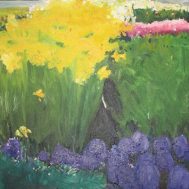 Cherie Salinas: 'Buttercups', 2012 Oil Painting, Floral. Artist Description:  Brightly colored flowers are in this landscape including yellow and green. ...