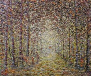Chris Quinlan: 'forest walk', 2017 Oil Painting, Impressionism. Artist Description: A forest landscape impressionism painting by Chris Quinlan Art, Irish artist. Original oil painting on canvas. ...