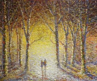 Chris Quinlan: 'sunset stroll', 2017 Oil Painting, Impressionism. Artist Description: Sunset Stroll, a Landscape impressionism painting by Chris Quinlan Irish artist, An original impressionism oil painting of a couple strolling towards a beautiful sunset in a colourful forest by Chris Quinlan impressionist artist. Original oil painting on canvas. ...