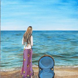 Charmaine Johnson Putnam: 'Hatbox', 2006 Acrylic Painting, Figurative. Artist Description: Dreamlike vision of a girl standing on the shore. An oversized hatbox symbolizes her transition into an adult, as she gathers memories from childhood. ...