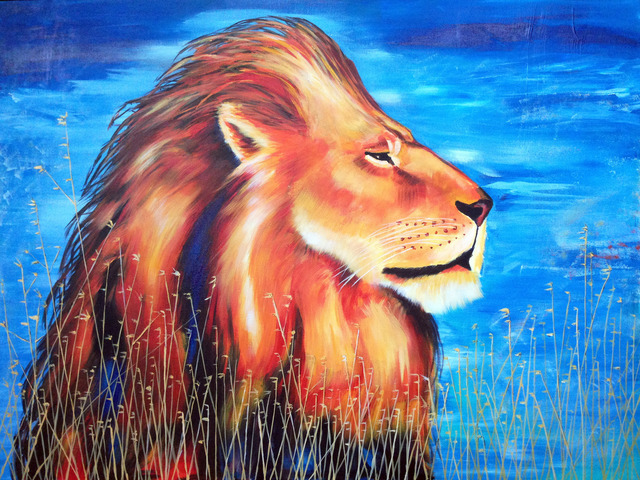 David Smith  'Majestic Lion', created in 2013, Original Painting Acrylic.