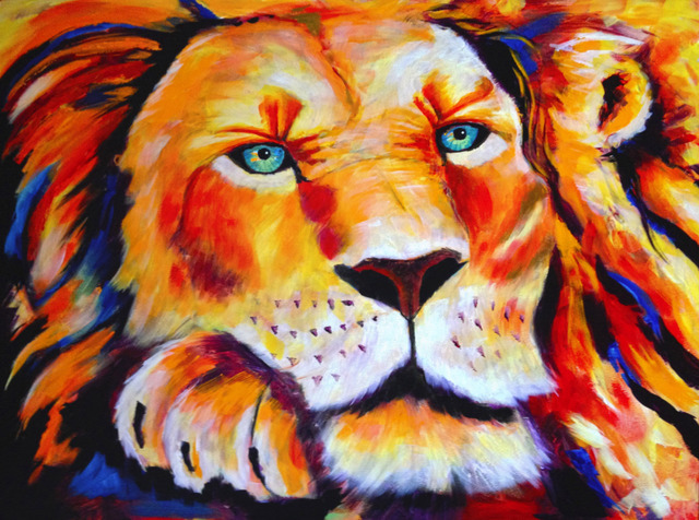 David Smith  'Resting Lion', created in 2013, Original Painting Acrylic.