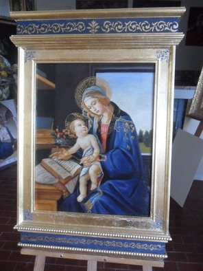 Rachele Manetti: 'Tabernacle frame Botticelli', 2016 Oil Painting, Christian.  Fantastic oil painting reproduction Botticelli with unique tabernacle frame ...