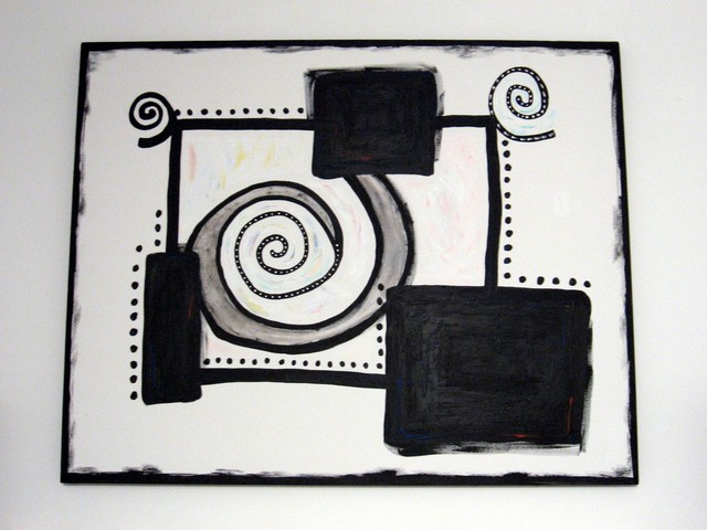 Rachel Yahr  'Modern Black And White', created in 2007, Original Painting Oil.