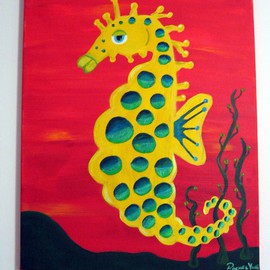 Rachel Yahr: 'Sea horse', 2007 Acrylic Painting, Sea Life. Artist Description:  seahorse with shimmery spots to catch your eye. Acylic on streched canvas.  Hand painted original and signed by artist ...