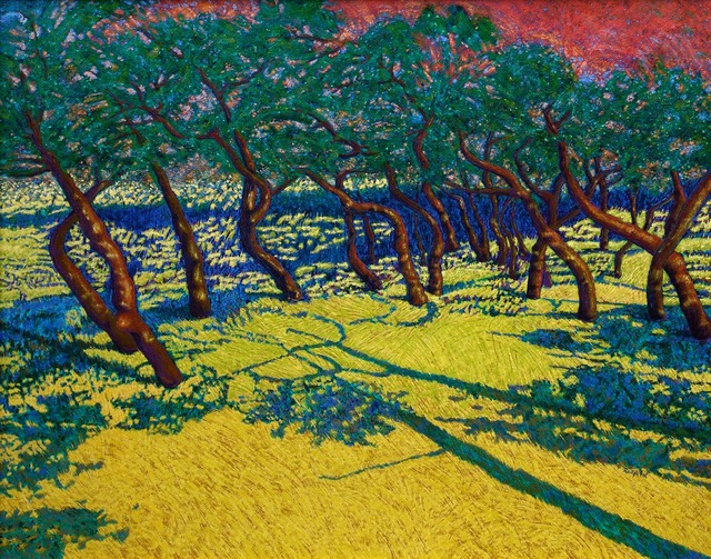 Radford Thomas  'Hill Country Trees: Sunset', created in 2000, Original Painting Acrylic.