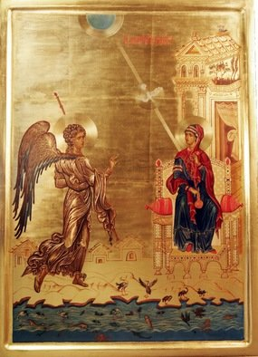 Radoslav Hristov: 'anunciation', 2009 Tempera Painting, Religious.
