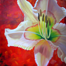 Rae Marie Artwork Lily in Red, 2007 Oil Painting, Floral