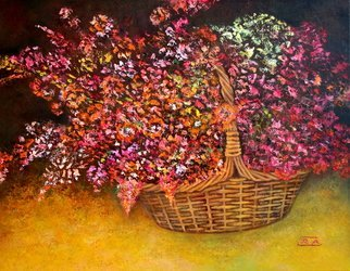 Rafail Aliyev: 'flowers in the basket', 2018 Oil Painting, Floral. Artist Description: Flowers in the basket...
