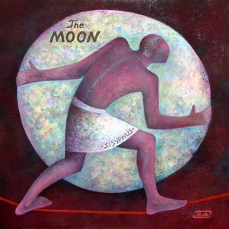 Rafail Aliyev: 'sisyphus pushing the moon', 2017 Oil Painting, Mythology. Artist Description: Sisyphus...
