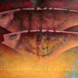 Rafail Aliyev: 'two fishes', 2018 Oil Painting, Fauna. Artist Description: Two fishes...