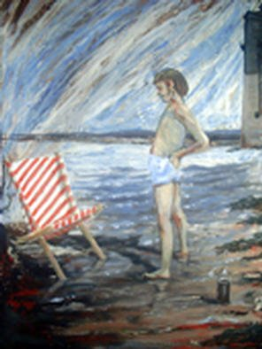 Roger Farr: 'Deckchair Puzzle ', 2002 Acrylic Painting, Children. A young boy is relieved after a frustrating few minutes constructing his deckchair the right way round.  ...