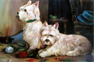 Roger Farr: 'Masters Return', 2002 Oil Painting, Dogs. Two west Highland Terriers await their masters return with anticipation after a minor misshap while playing!...