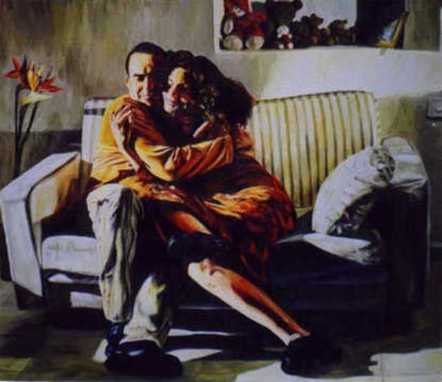 Raphael Perez  Israeli Painter  My Brother And His Wife 1998