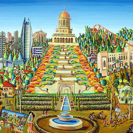 bahai garden haifa city painting israel naive art paintings