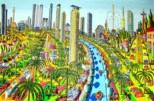 Raphael Perez  Israeli Painter   'Cityscape Naive Painter', created in 2013, Original Photography Color.