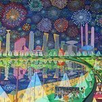 Fireworks Naive Paintings, Raphael Perez  Israeli Painter