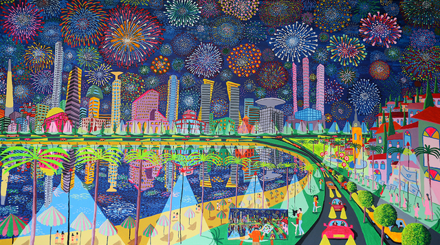 Raphael Perez  Israeli Painter   'Fireworks Naive Paintings', created in 2017, Original Photography Color.