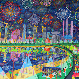 fireworks naive paintings