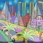 Folk Painter Naive Artist, Raphael Perez  Israeli Painter