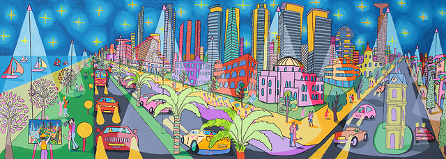 Raphael Perez  Israeli Painter  Folk Painter Naive Artist 2017