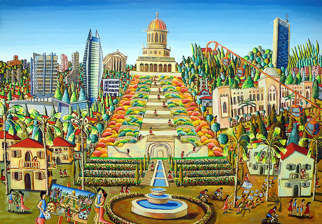 Raphael Perez  Israeli Painter   'Haifa Bahai Garden Painting', created in 2017, Original Photography Color.