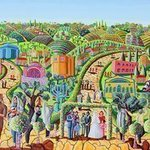 jerusalem naive art By Raphael Perez  Israeli Painter