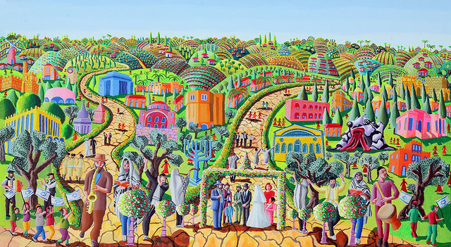Raphael Perez  Israeli Painter   'Jerusalem Naive Art', created in 2017, Original Photography Color.