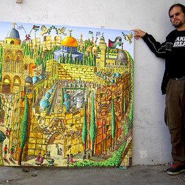 jerusalem naive painting israeli painter raphael perez