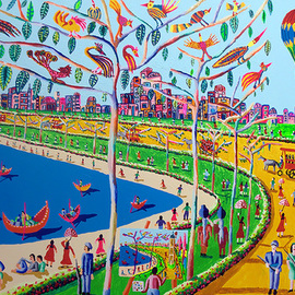naive art paintings folk  By Raphael Perez  Israeli Painter