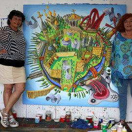 naive art paintings jerusalem israel city famous sites places painting