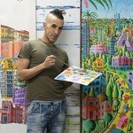 Naive Artist Naife Painter, Raphael Perez  Israeli Painter