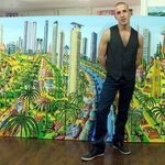 Naive Painter Folk Artist, Raphael Perez  Israeli Painter