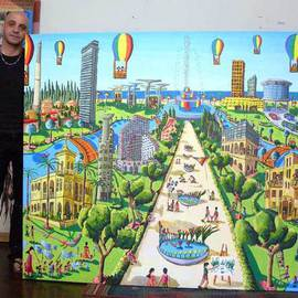 naive painting of tel aviv city israel