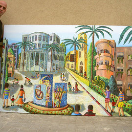 naive painting of tel aviv city israel art by rafi perez
