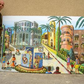 naive painting of tel aviv city israel art by rafi perez