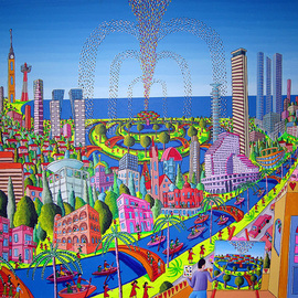 naive paintings folk art native painting of tel aviv city  artworks gallery