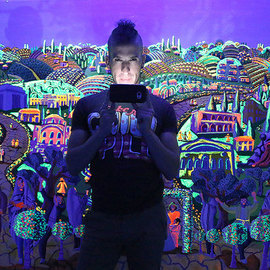 Raphael Perez  Israeli Painter : 'painting phosphorescent', 2017 Acrylic Painting, Landscape. Artist Description: Painting in phosphorescent colors naive art paintings folk artworks painting...