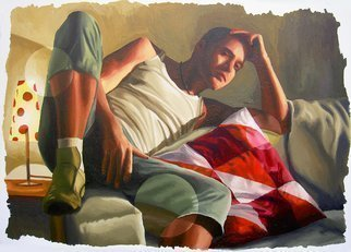 Raphael Perez  Israeli Painter : 'realistic painting of young man on sofa realism art painting by raphael perez painter', 2016 Acrylic Painting, Naive. Artist Description:  realistic painting of young man on sofa realism art painting by raphael perez painter     ...