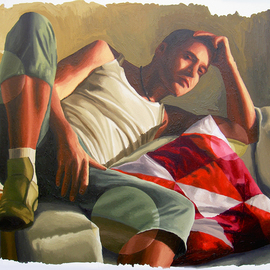 realistic painting of young man on sofa realism art painting by raphael perez painter
