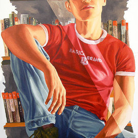 Raphael Perez  Israeli Painter : 'realistic painting of young man realism art by raphael perez', 2004 Acrylic Painting, Figurative. Artist Description:  realistic painting of young man realism art by raphael perez  raphael perez painters artist  artists gallery galleries picture pictures image images          ...