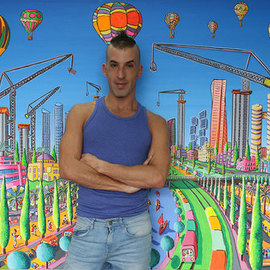 Raphael Perez  Israeli Painter : 'skyscrapers tall buildings', 2017 Acrylic Painting, Landscape. Artist Description: Skyscrapers Tall buildings in Tel Aviv Israel...